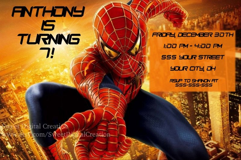 Spiderman Invitation is great invitations layout