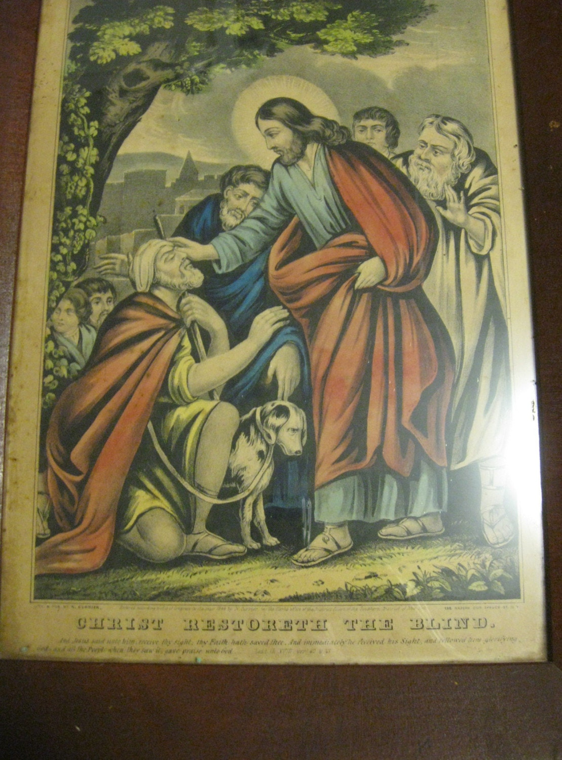 1846 Christ Restoreth the Blind Antique Currier Hand Colored Lithograph