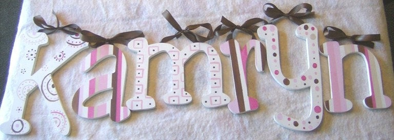 Hand Painted Wooden Letters M2M CADEN LANE CLASSIC PINKS