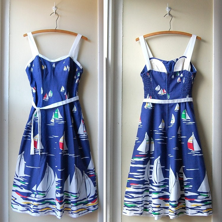 Vintage 1960's Sailboat Dress