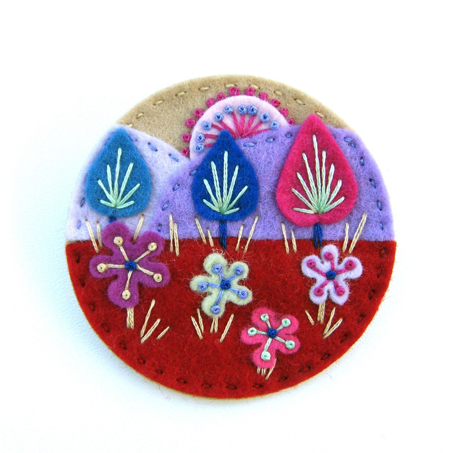TREESCAPE FELT BROOCH PIN WITH FREEFORM EMBROIDERY