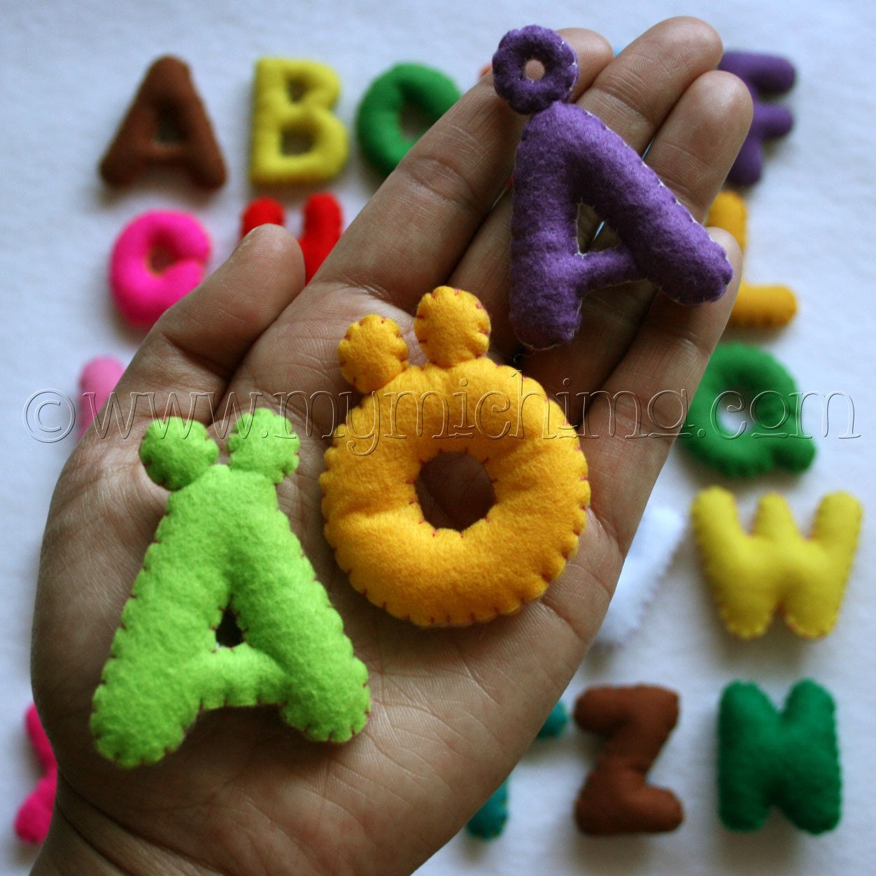Stuffed Felt Swedish Alphabet Letter Set in a Drawstring Bag - Upper or Lower Case Letters