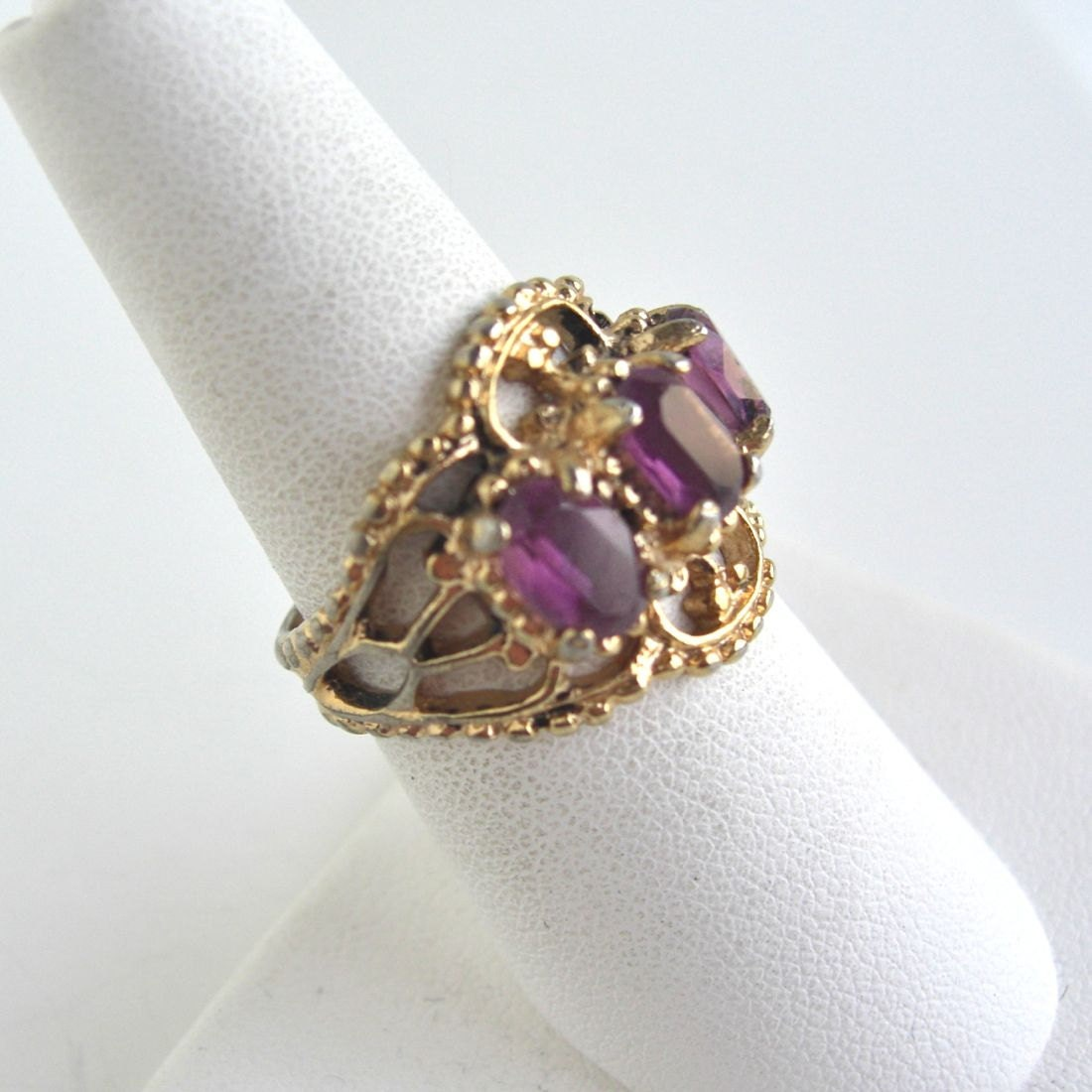 large amethyst gold cocktail ring 18k hge by lucra on etsy