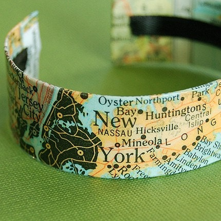 Map of New York - Long Island Area Cuff Bracelet - Style 2