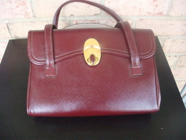 Darling Vintage Oxblood Leather Boxy Satchel Handbag