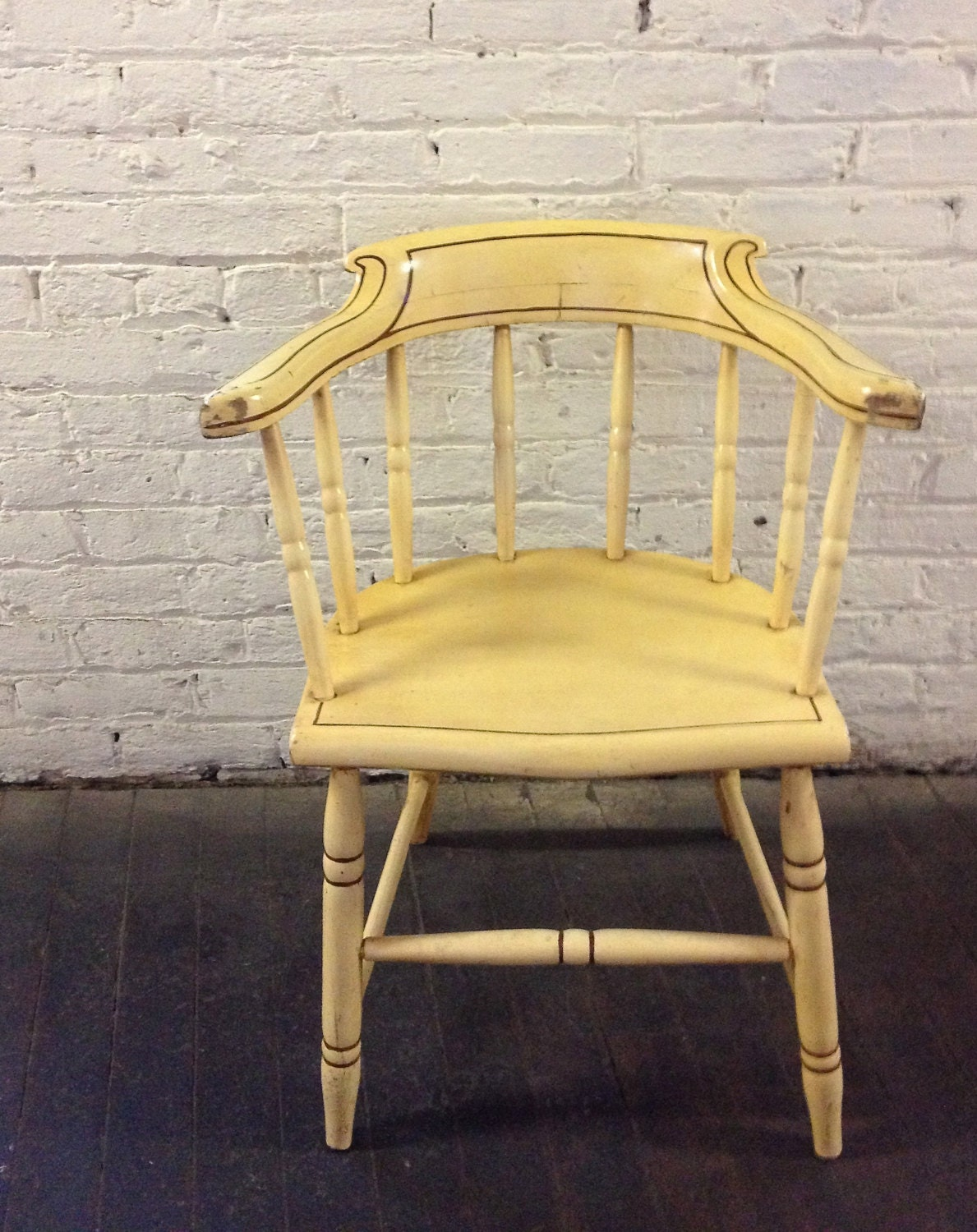 Amazing photo of Pale Yellow Vintage Wooden Arm Chair by HalfBrother on Etsy with #A28229 color and 1189x1500 pixels