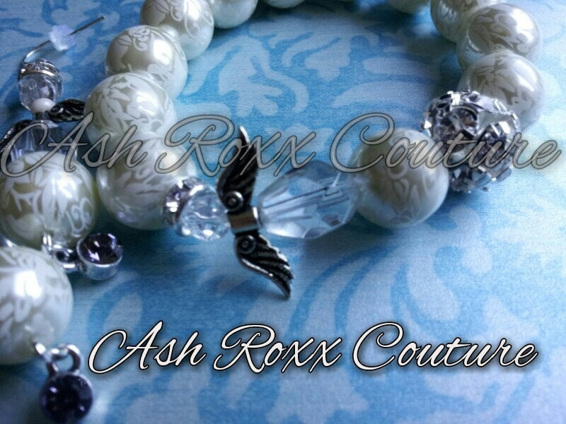 Basketball Wives Love and Hip Hop  Genuine Crystal  and Victorian Lace Pearl Angel Bracelet w/matching Earrings