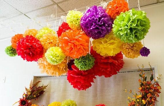 POm Harvest...25  tissue pompoms..fall wedding tissue paper pompom//nursery decor//birthday// bridal baby shower// rustic fall wedding - PomPomDelightNmore