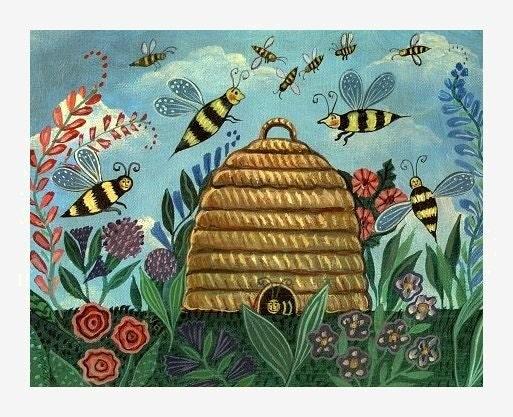 HAPPY BEES Bumblebee Garden Bee Skep SIGNED ART PRINT Wendy Presseisen
