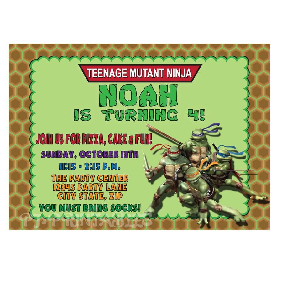 Teenage Mutant Ninja Turtles Birthday Invites for adorable invitations design