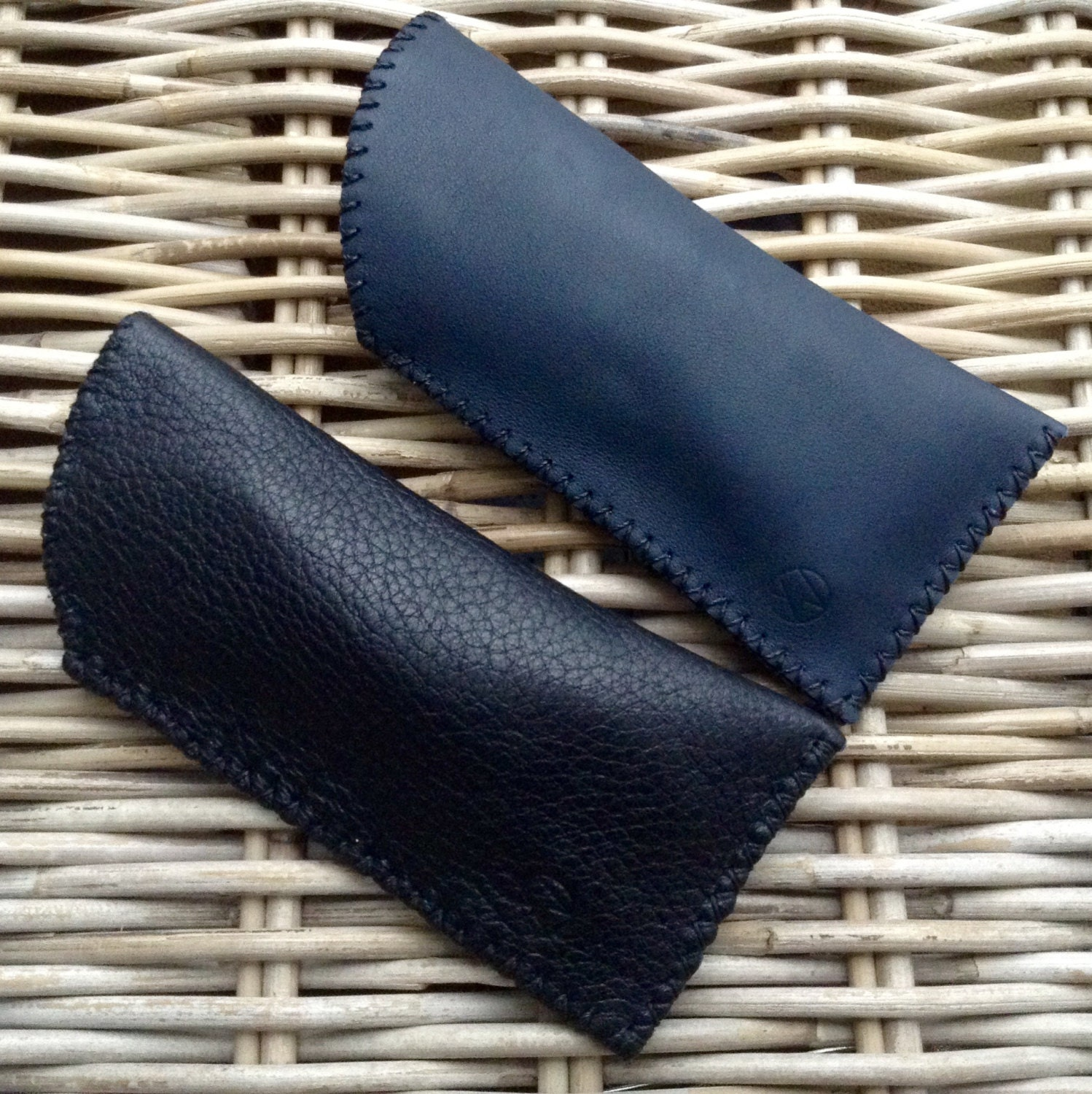 CLEARANCE SALE! Handstitched in UK soft leather black deerskin or navy blue leather glasses case