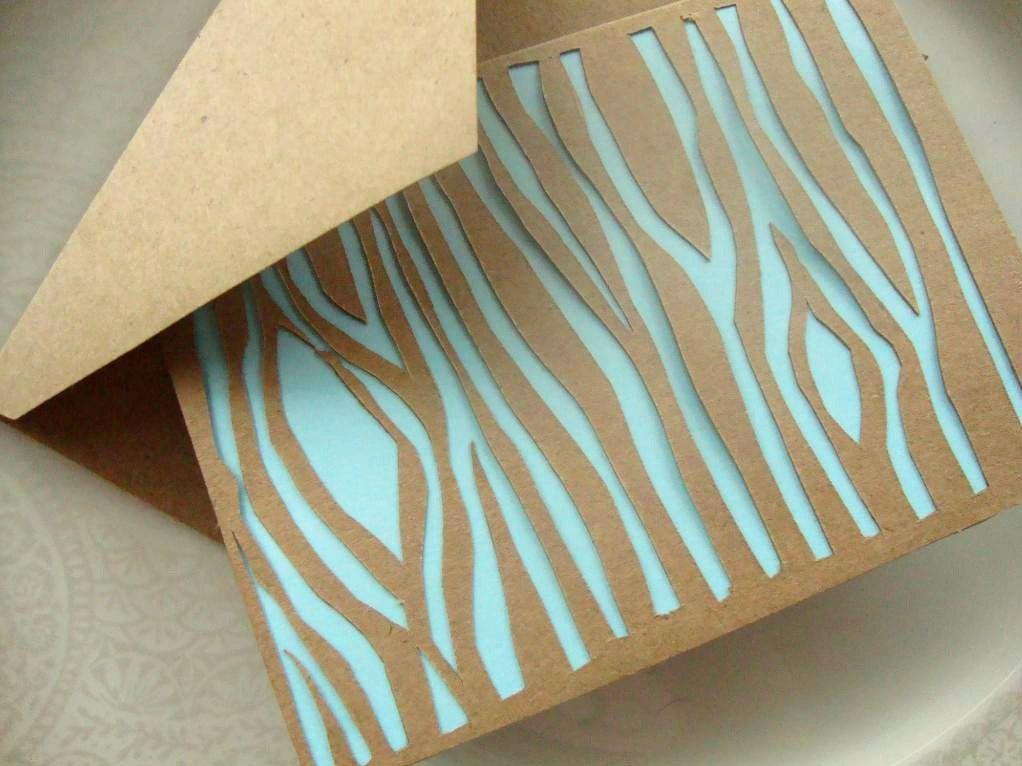 Papercut Faux Bois Woodgrain Note Card in Pastel Blue