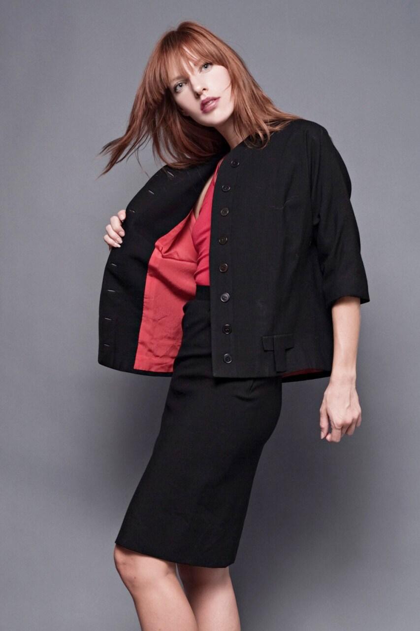 vintage 60s black mod pencil skirt suit by