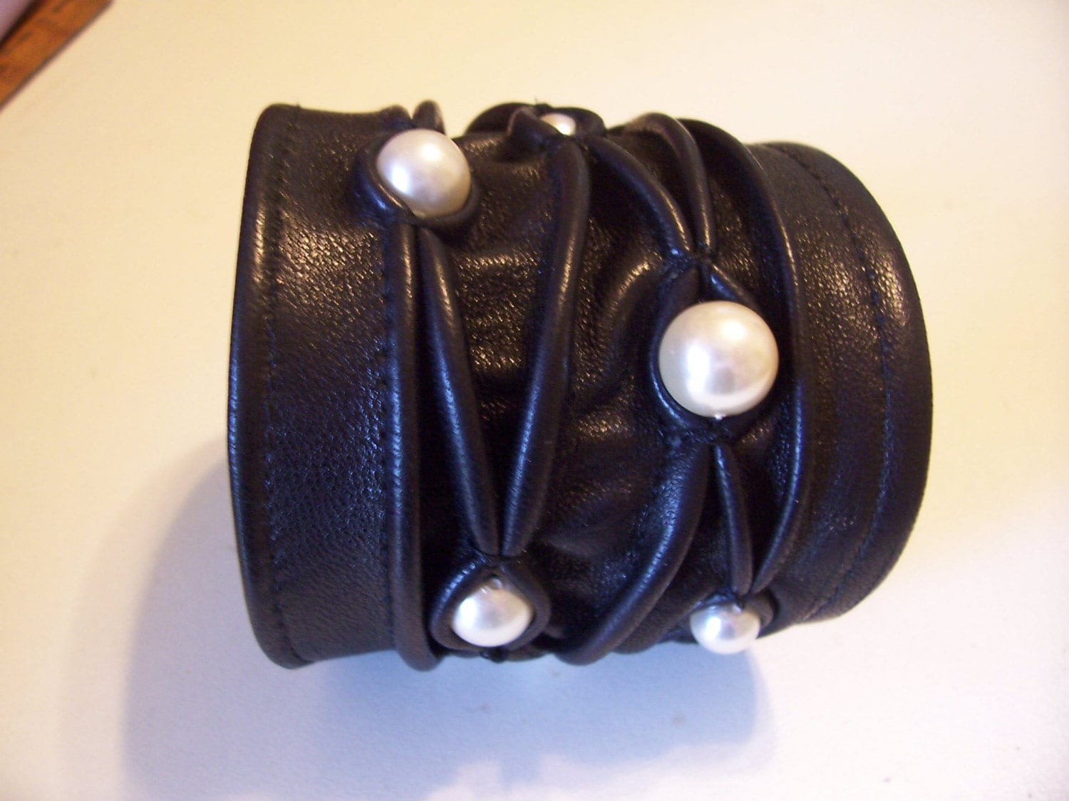 Black Leather Stitched Cuff with Pearl Beads