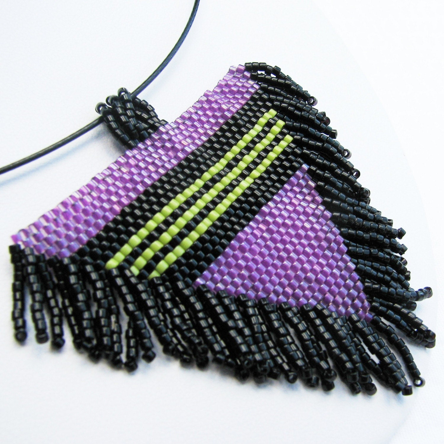 Striped and Fringed Beadwoven Magenta Triangle Pendant (2413)