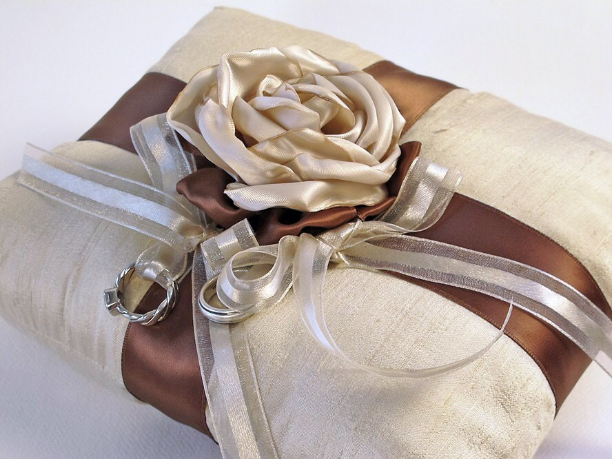 Silk and Satin Floral Ring Pillow for Your Wedding, Chocolate and Taupe