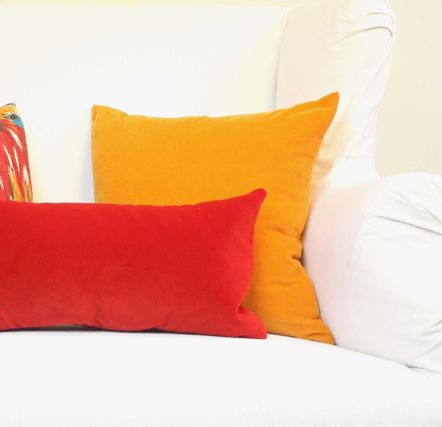 Items similar to Red Velvet Pillow - Decorative Pillow Cover - 12 x 22 inch - Lumbar - Poppy red ...