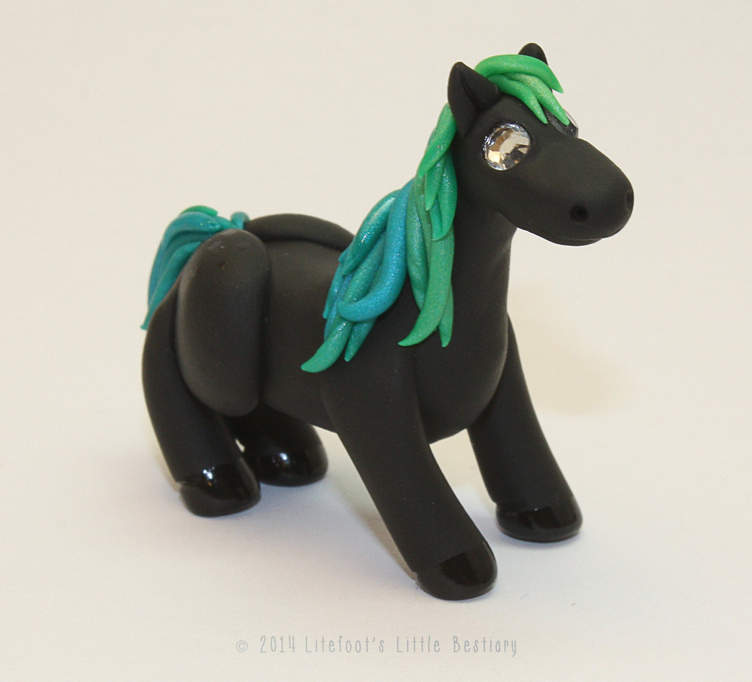 Little Black and Teal Crystal Pony - LitefootsLilBestiary