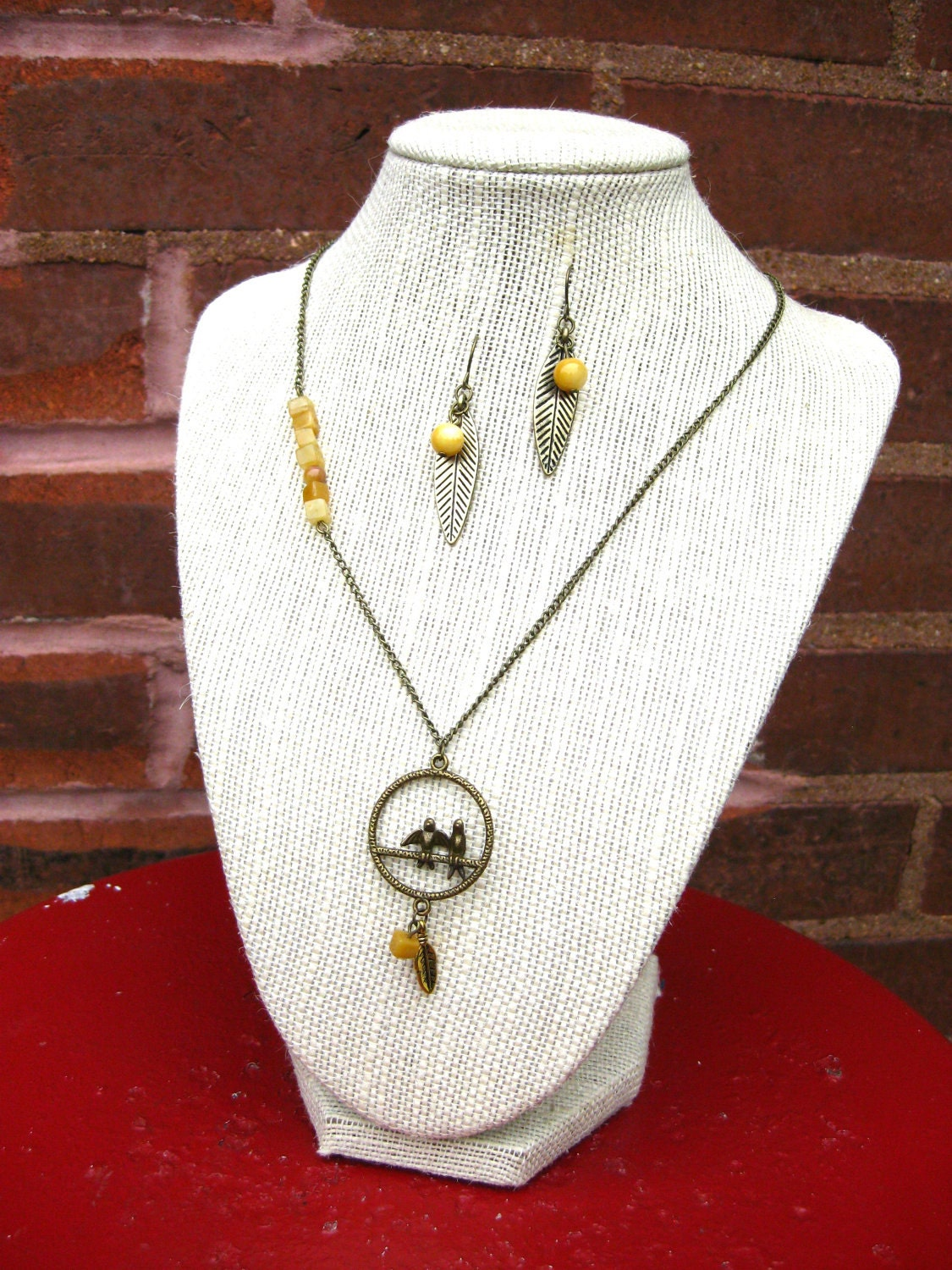 Bird Necklace and Earrings, Jewelry Set, Gift Set, Yellow Stone Beads