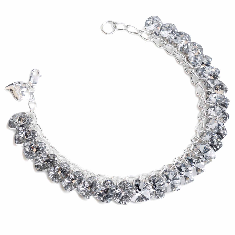 Labra Silver Heart to Heart Sterling Silver  SWAROVSKI crystal Charm Bracelet