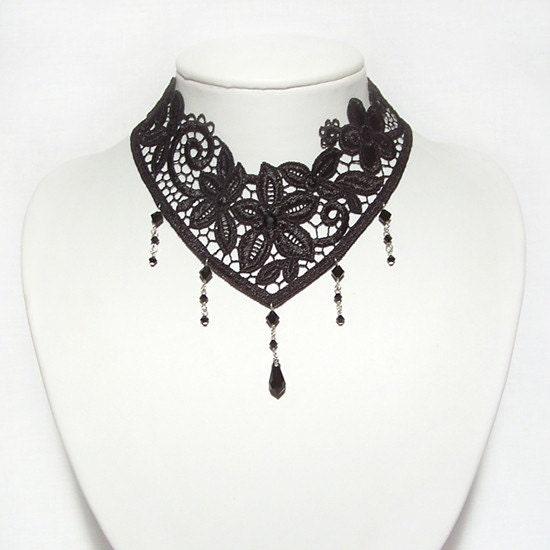 Nocturne ..decadent Jet Swarovski necklace choker - goth
