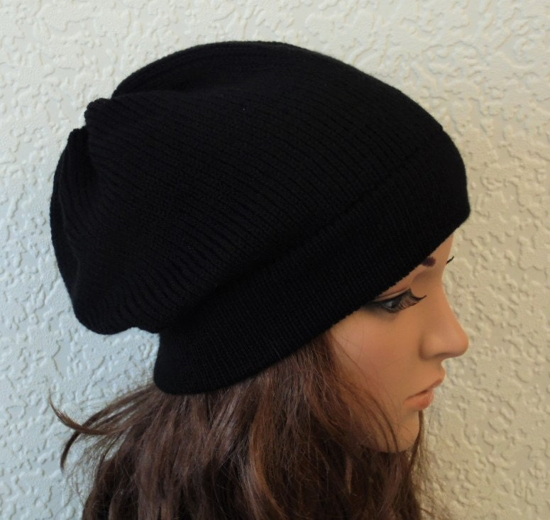 Black beanie black hat handmade knitted hat for women stylish beanie slouchy beanie slouch hat