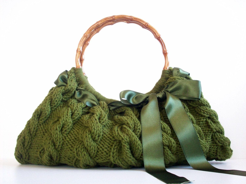 کیف شانه ، کیف دستی کیف هر روز Knitted سبز Nr.0112