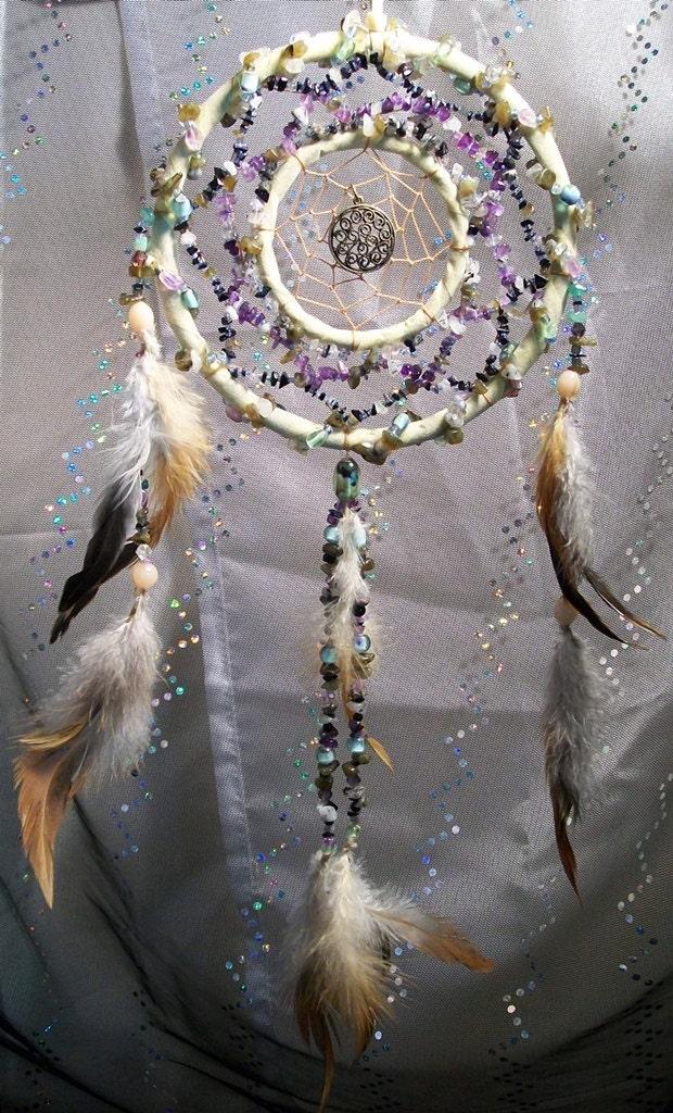 Native Gemstone Dream Web The Cosmic Spiral Dreamcatcher