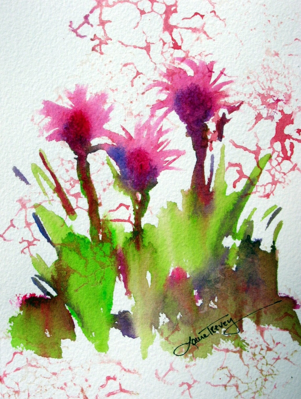 Three of a Kind, Original Watercolor Painting, 5 by 7