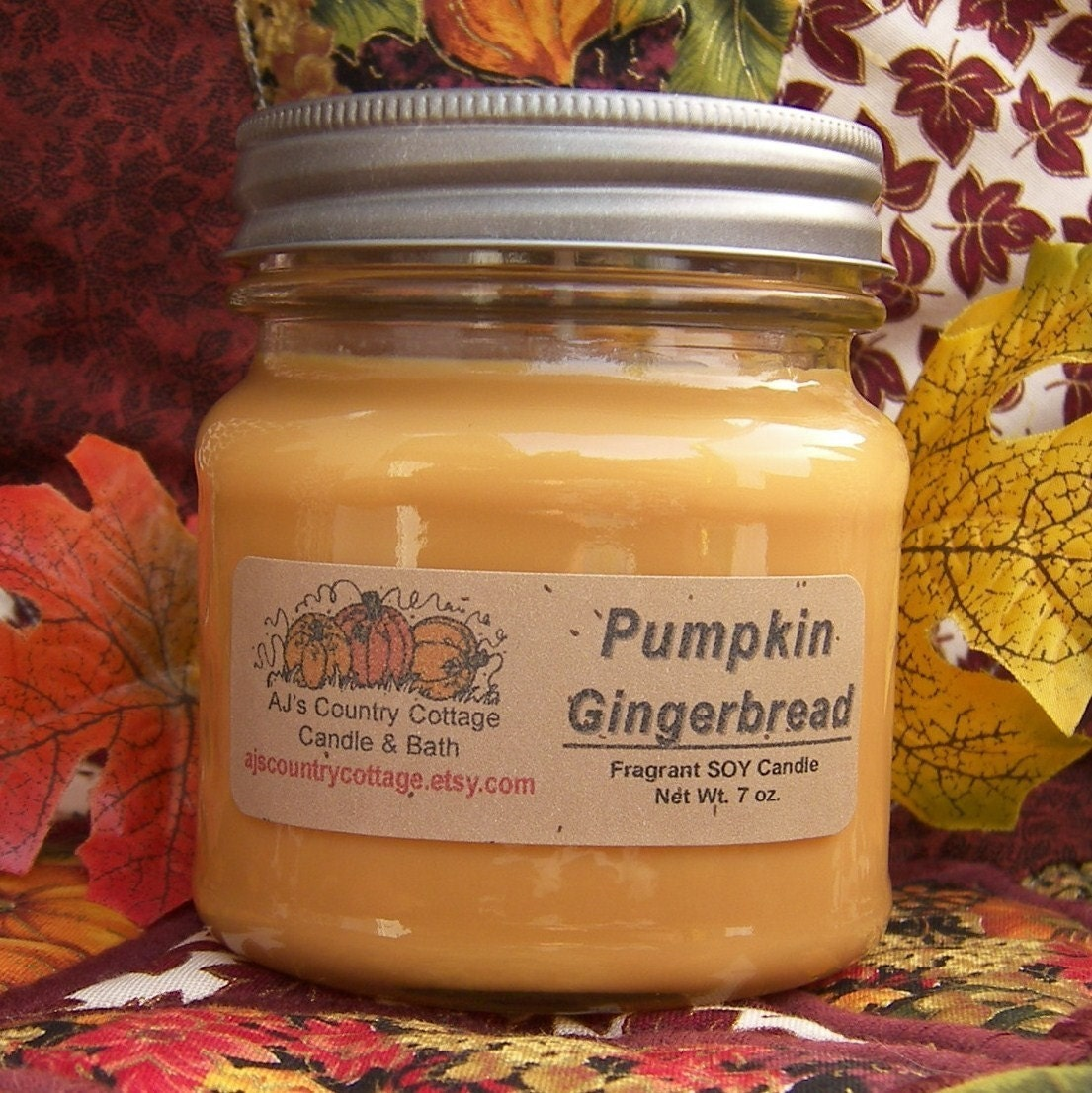 NEW PUMPKIN GINGERBREAD SOY CANDLE - HIGHLY SCENTED - VEGAN
