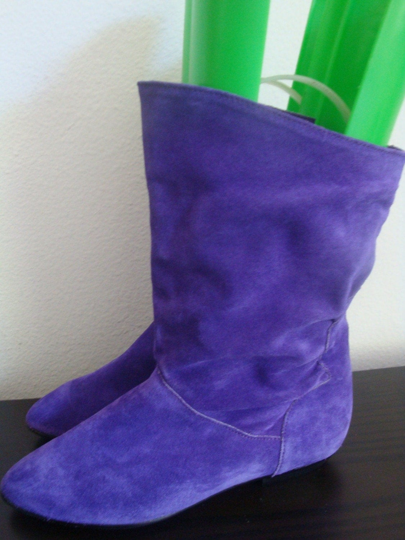 vintage Violet Slouchy 80s Rocker Boots Size 7m