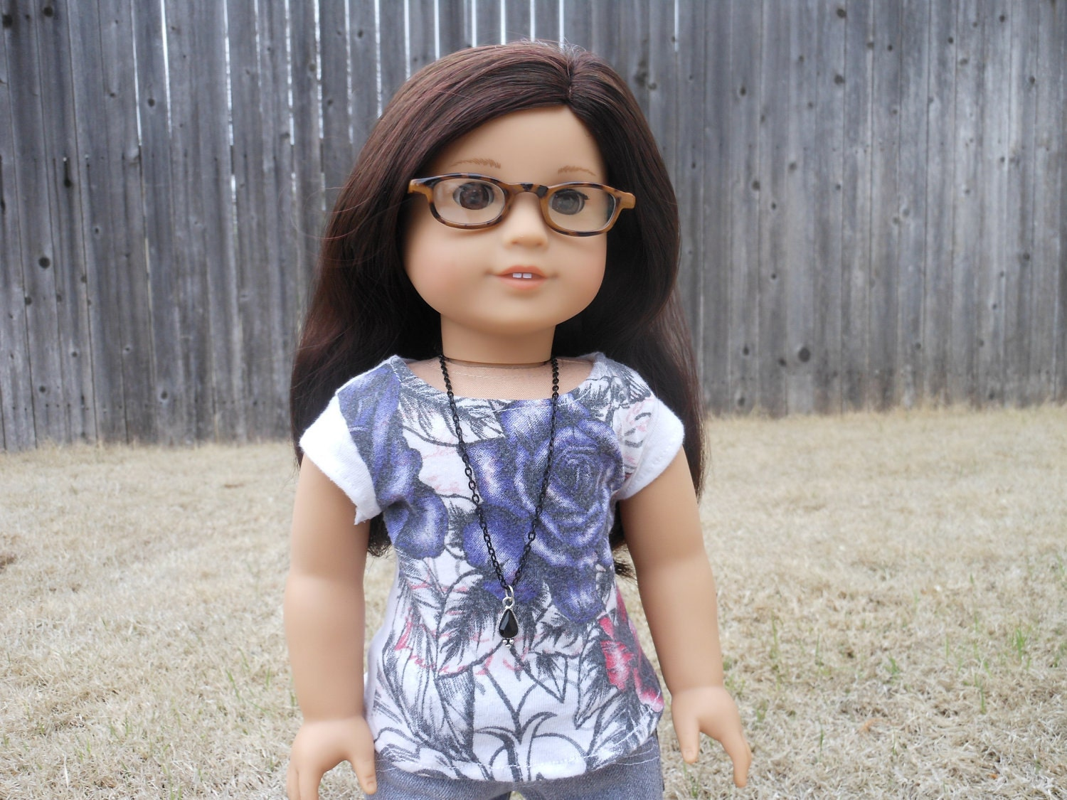 The OOAK Exploding Roses Graphic Tee and Black Chain Necklace for American Girl Dolls