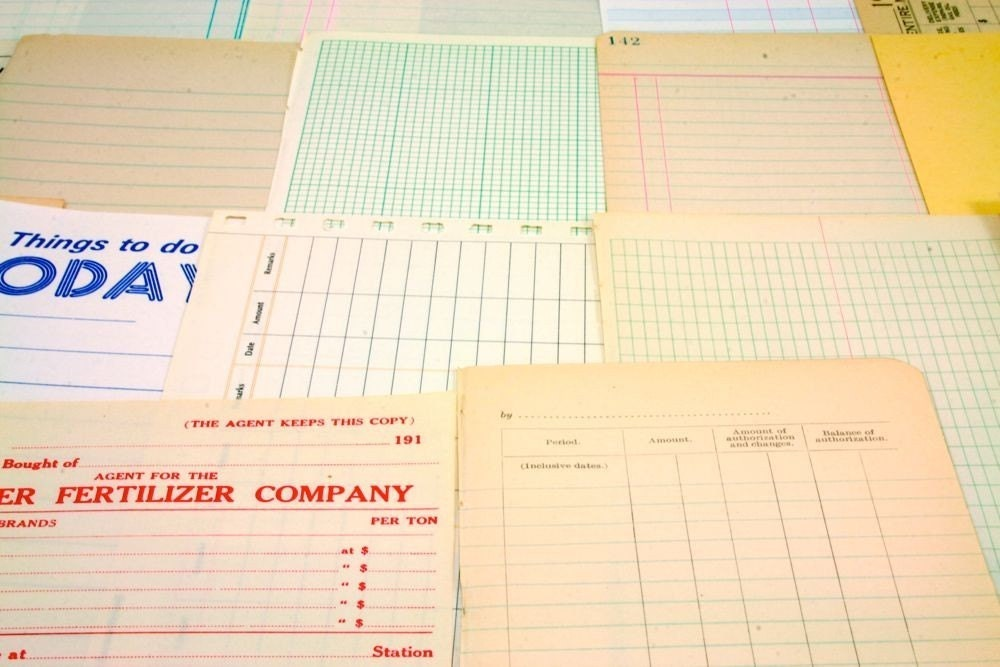 34 Vintage Assorted Accounting Ledger Book Pages for Collages/Mixed Media/Scrapbooking