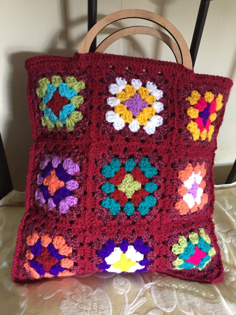 Hand Crochet Granny Square Bag  Fully Lined and with Wooden Handles  Craft Bag  Knitting Bag