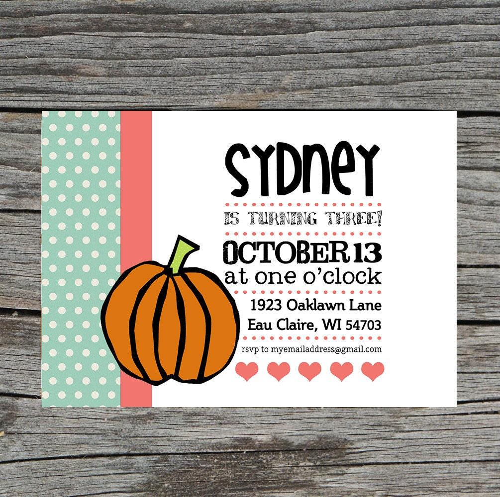DIY Printable - Pumpkin Birthday Invitation