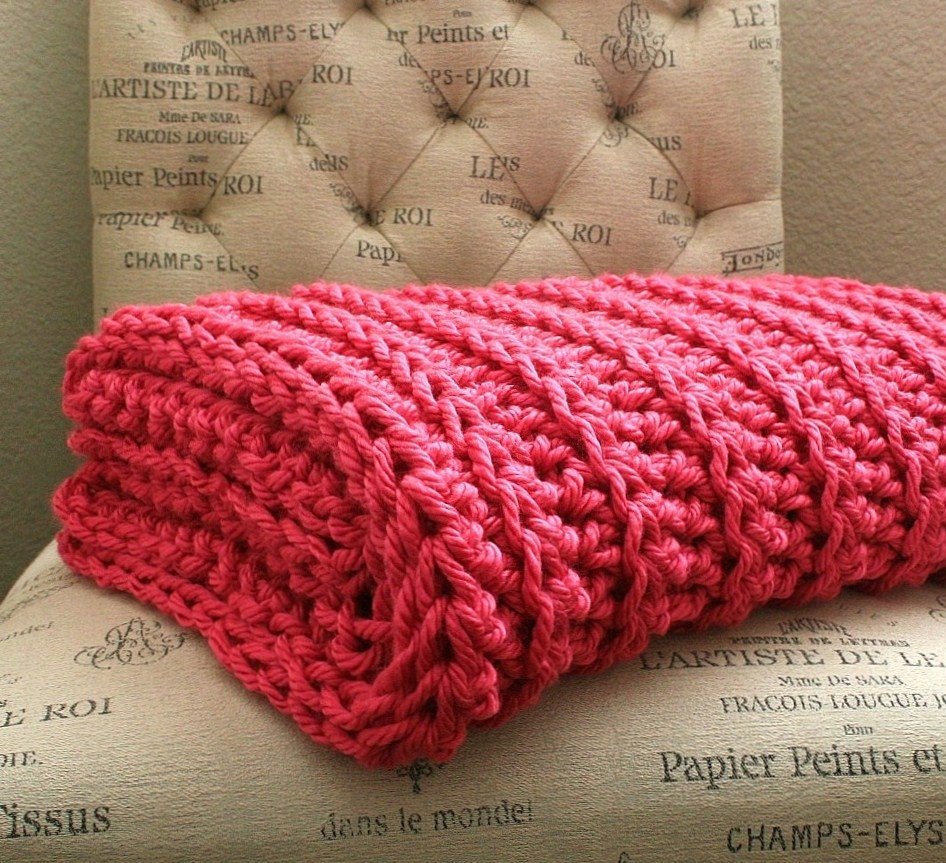 WEST BAY THROW in Hot Pink - Soft, warm & cozy throw - Perfect gift for wedding, housewarming, anniversary, holidays or for your home - BehindMyPicketFence
