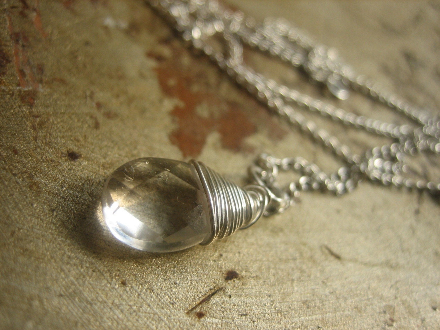 rivke -  delicate quartz briolette pendant on pure sterling silver chain  necklace