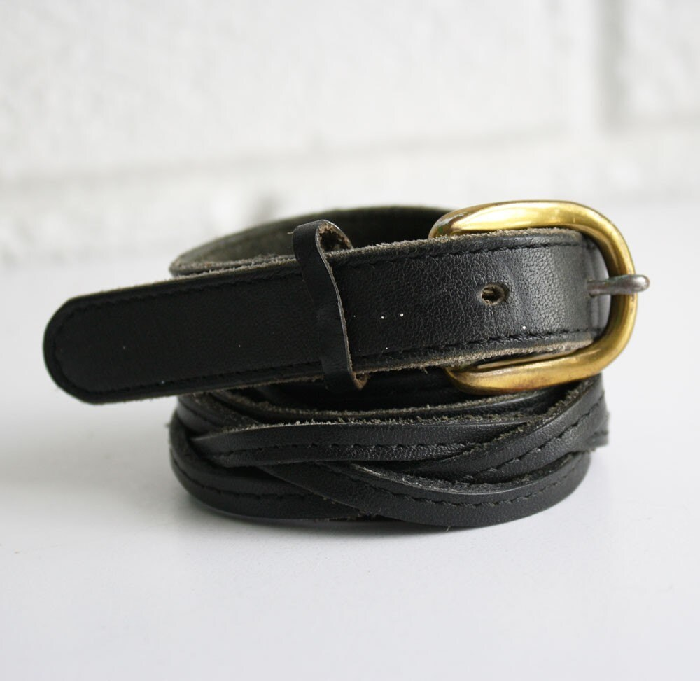 Vintage Black Leather Braided Belt