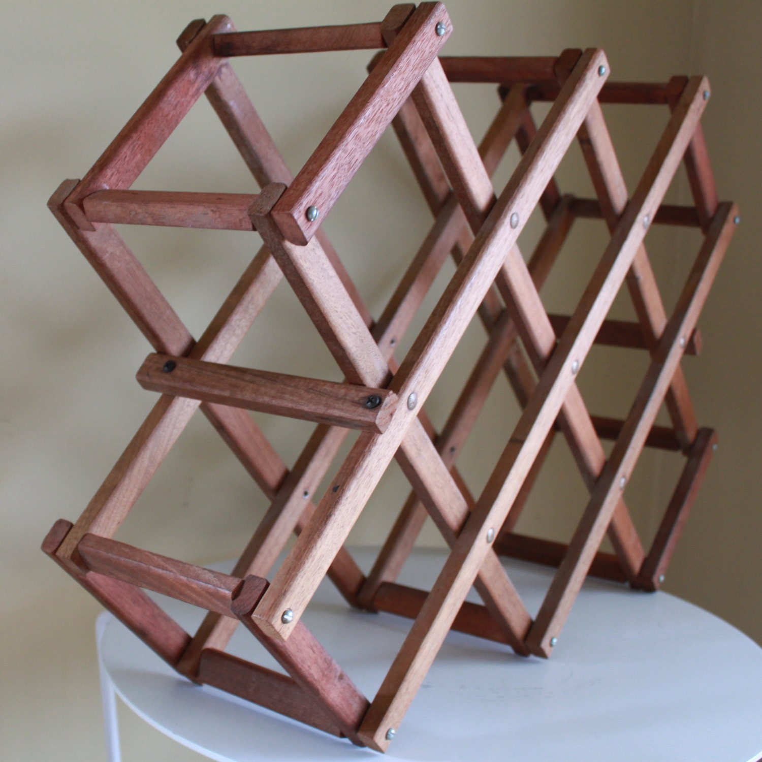 Modern Retro Wood Folding Wine Rack By Fullcircleretro On Etsy
