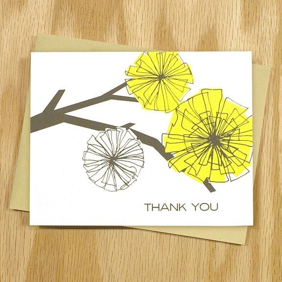 Whirlaway Thank You Notes, Yellow and Grey, Box of 6
