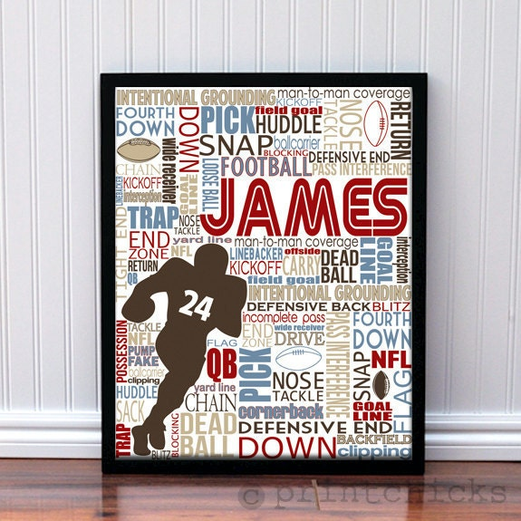 Football Print Custom- Personalized Coach'sGift- Boys Room Decor Poster Print - 11 x 14