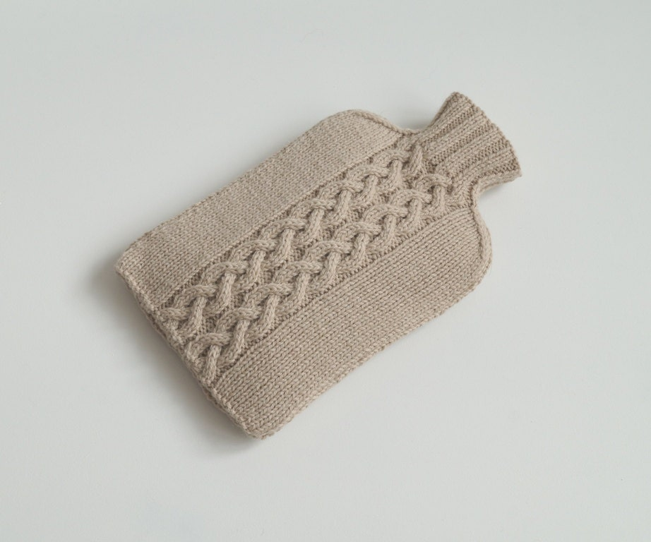 Hand Knit Hot Water Bottle Cosy Cover Light Beige  YEADING