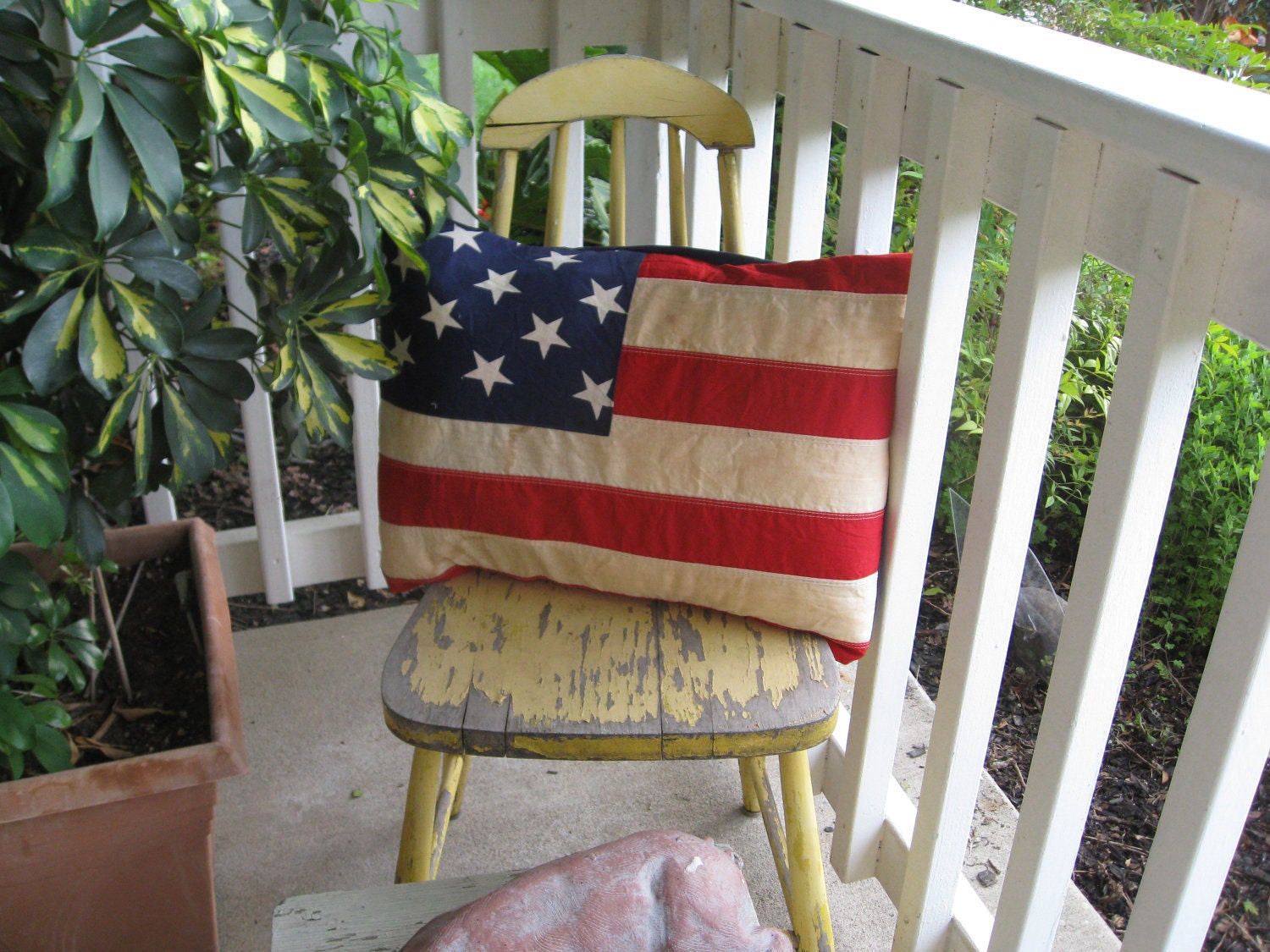 HANDMADE FLAG PILLOW Cover Recycled Americana Red White and Blue