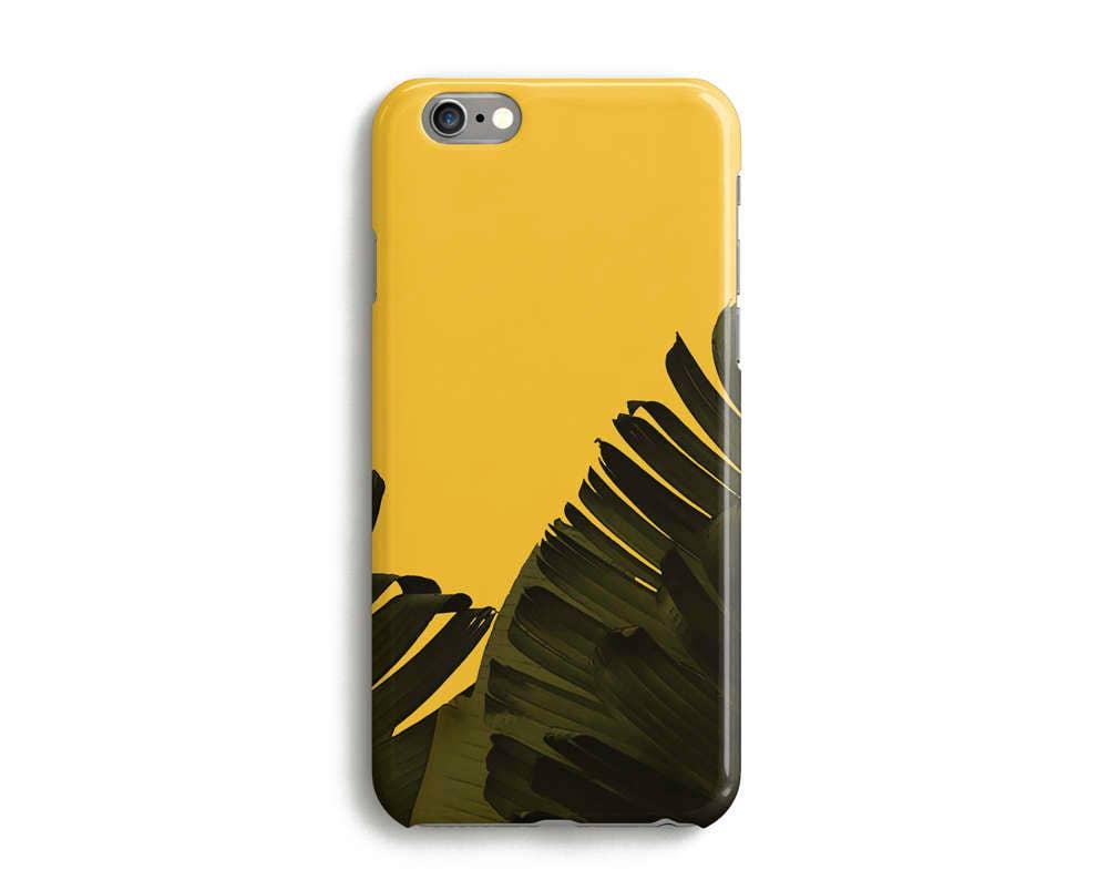 Green Palm Leaves Floral Phone Case iPhone 7 6 6s Plus SE 5s 5c unique tropical plant iPhone case Samsung LG Google Pixel Yellow