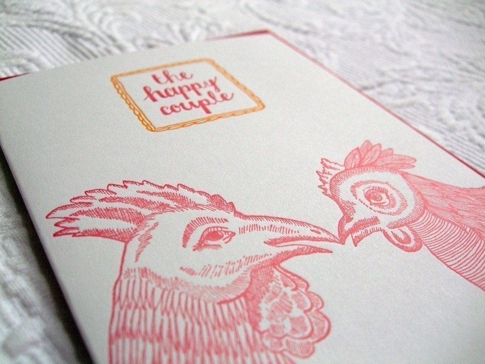 Letterpress Wedding Card. The Happy Couple. Rooster and Hen.