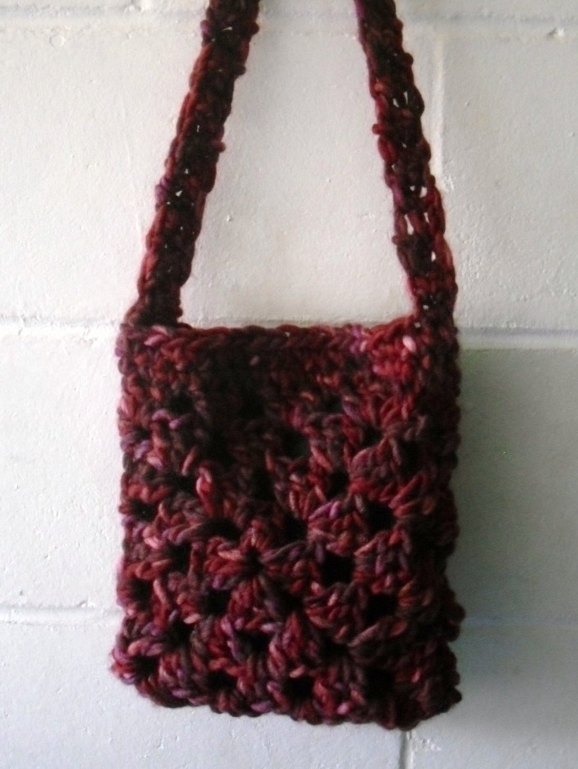 Crochet Bag Small Multi Red and Purple Shoulder bag