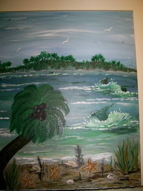 The Beach  16x20 original canvas painting ocean sea FREE USA SHIPPING