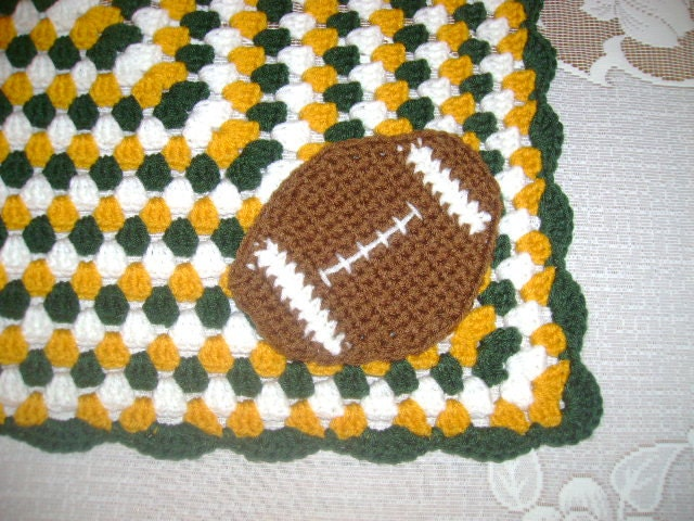 Green Bay Packer Crocheted Afghan READY TO SHIP by ...