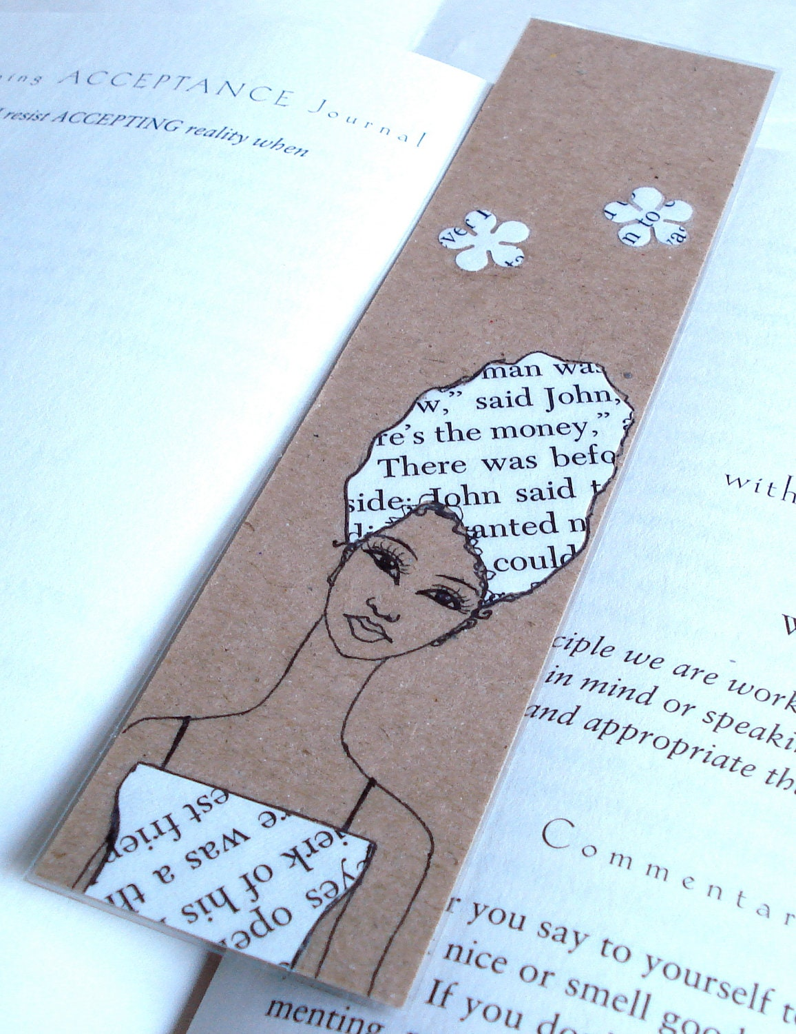 Handmade Bookmark with Original Drawing/Collage