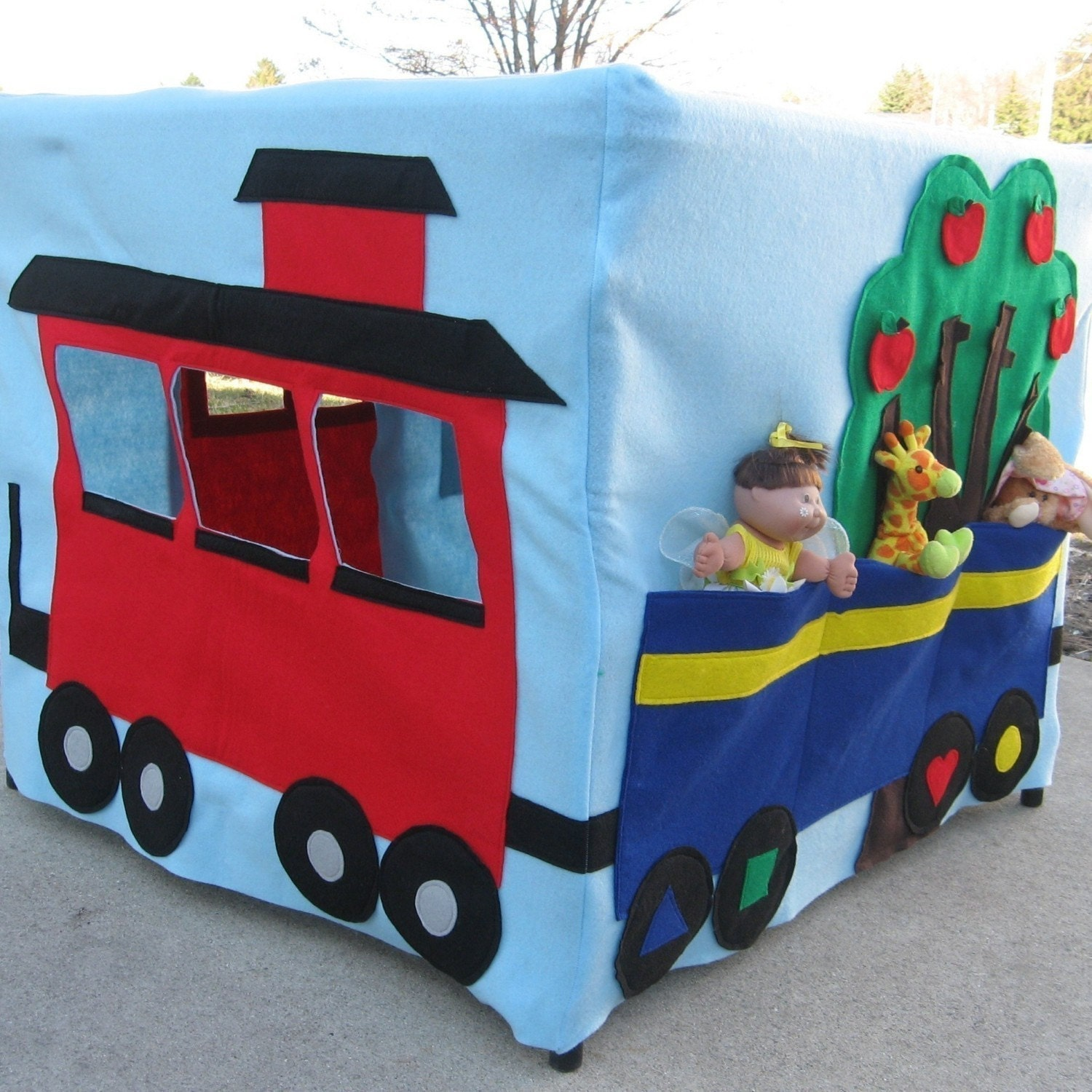 All Aboard Train Station Card Table Playhouse, Custom Order, Personalized